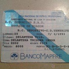 Coleccionismo deportivo: ENTRADA DEPORTIVO-TENERIFE 1993 ESTADIO RIAZOR. Lote 54025568