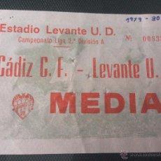 Coleccionismo deportivo: R241 ENTRADA TICKET LEVANTE CADIZ LIGA TEMPORADA 1979 1980. Lote 54104339