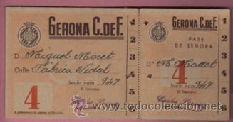 ENTRADA DE FUTBOL GERONA C. DE. F PASE DE SEÑORA PUBLICIDAD LEJIA GUERRERA -VARIEDAD COLOR I Nº 4 (Coleccionismo Deportivo - Documentos de Deportes - Entradas de Fútbol)