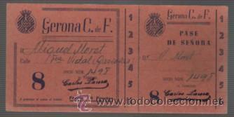 ENTRADA DE FUTBOL GERONA C. DE. F PASE DE SEÑORA SIN PUBLICIDAD VARIEDAD 8 18 PTAS (Coleccionismo Deportivo - Documentos de Deportes - Entradas de Fútbol)