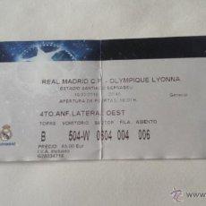 Coleccionismo deportivo: ENTRADA REAL MADRID -OLYMPIQUE DE LYON OCTAVOS DE FINAL CHAMPIONS 2010. Lote 54635734