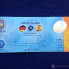 Coleccionismo deportivo: ENTRADA TICKET FINAL EUROCOPA 2008 ALEMANIA ESPAÑA EURO 2008 WITH FLAGS CON BANDERAS SIN CORTAR. Lote 54792346