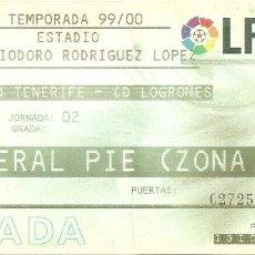 Coleccionismo deportivo: 28/8/1999:CD TENERIFE-CD LOGROÑÉS.HELIODORO RODRIGUEZ LÓPEZ.J.2,2ª DIV 1999/2000.. Lote 55349430
