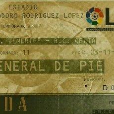 Coleccionismo deportivo: 3/11/1996:CD TENERIFE-RC CELTA.HELIODORO RODRÍGUEZ LÓPEZ.J.11,1ª DIVISIÓN 1996/97. Lote 55350143