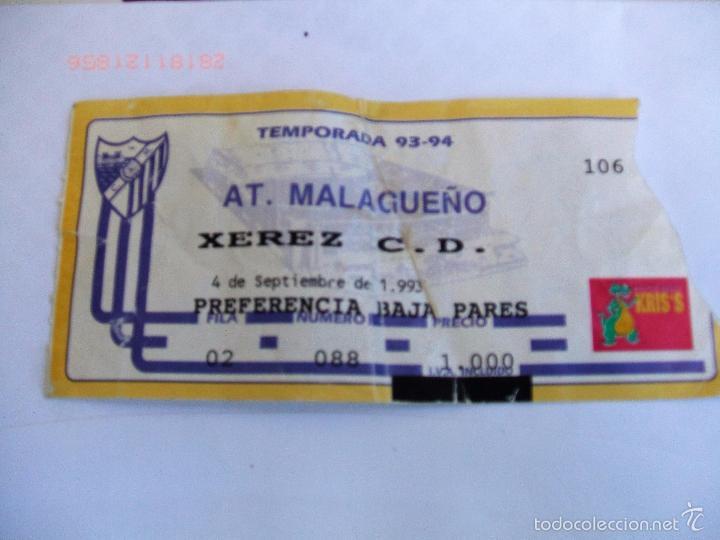 ENTRADA FÚTBOL AT. MALAGUEÑO - JEREZ C.D. TEMP 1993-94 (Coleccionismo Deportivo - Documentos de Deportes - Entradas de Fútbol)