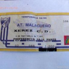 Coleccionismo deportivo: ENTRADA FÚTBOL AT. MALAGUEÑO - JEREZ C.D. TEMP 1993-94. Lote 56387590