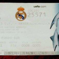 Coleccionismo deportivo: ENTRADA REAL MADRID BAYER LEVERKUSEN CHAMPIONS LEAGUE 28 NOVIEMBRE 2004, ESTADIO SANTIAGO BERNABEU. Lote 56713353