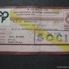 Coleccionismo deportivo: ENTRADA LIGA R.C.D ESPANYOL - BARCELONA- ESTADIO SARRIA AÑO 91-92 - (V-5633). Lote 56897898