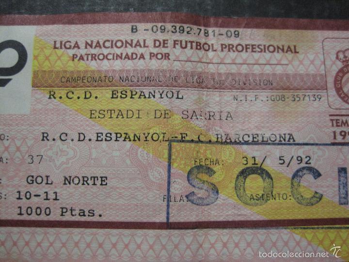 Coleccionismo deportivo: ENTRADA LIGA R.C.D ESPANYOL - BARCELONA- ESTADIO SARRIA AÑO 91-92 - (V-5633) - Foto 2 - 56897898