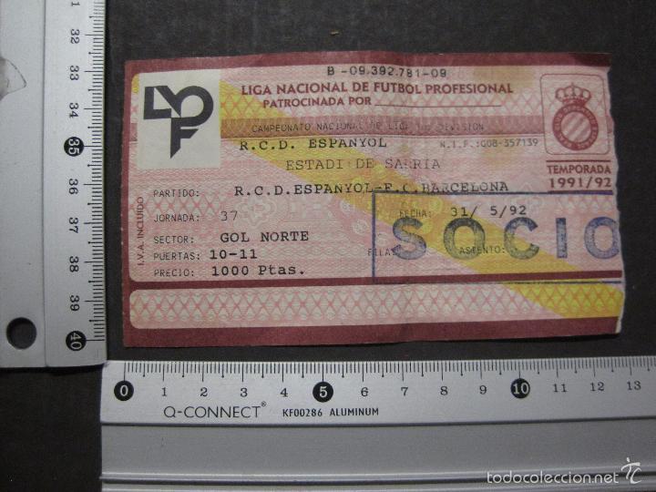 Coleccionismo deportivo: ENTRADA LIGA R.C.D ESPANYOL - BARCELONA- ESTADIO SARRIA AÑO 91-92 - (V-5633) - Foto 4 - 56897898