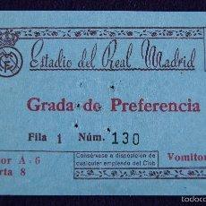 Coleccionismo deportivo: ANTIGUA ENTRADA DE FUTBOL DEL REAL MADRID. ESTADIO DEL REAL MADRID. AÑOS 50.. Lote 56959584