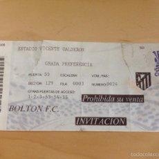 Coleccionismo deportivo: ENTRADA TICKET ATLETICO MADRID BOLTON UEFA EUROPA LEAGUE 2007 2008. Lote 57089340