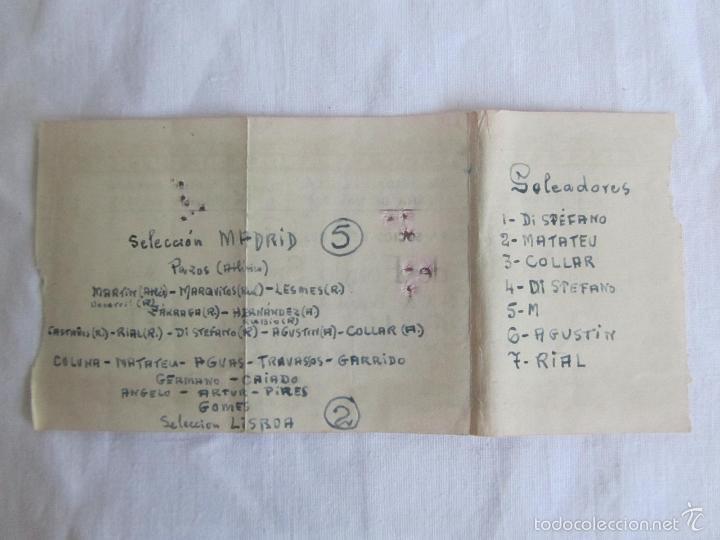 Coleccionismo deportivo: Entrada Estadio Santiago Bernabeu Selecciones Madrid Lisboa 8 de diciembre de 1955 - Foto 3 - 57630928