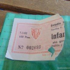 Coleccionismo deportivo: ENTRADA DE FUTBOL ESTADIO RAMON SANCHEZ PIZJUAN SEVILLA 1982. Lote 58308021