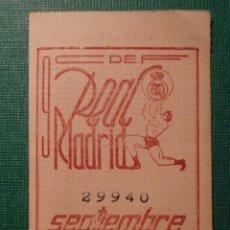 Coleccionismo deportivo: REAL MADRID - CUPÓN / ENTRADA SOCIO MES 9 - SEPTIEMBRE 1955 -. Lote 58346716