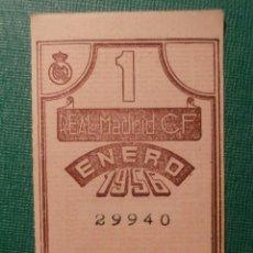 Coleccionismo deportivo: REAL MADRID - CUPÓN / ENTRADA SOCIO MES 1 - ENERO 1956 -. Lote 58346972