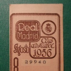 Coleccionismo deportivo: REAL MADRID - CUPÓN / ENTRADA SOCIO MES 8 - AGOSTO 1956 -. Lote 58346994