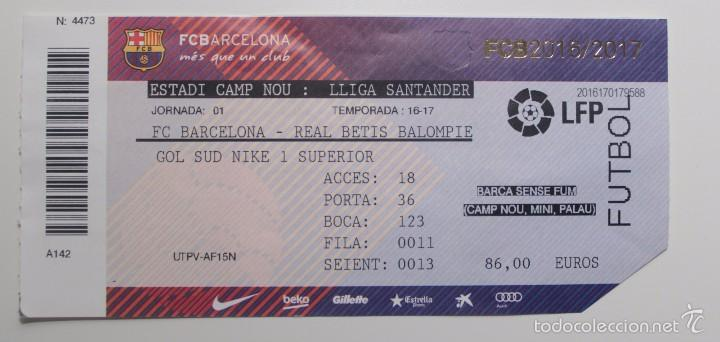 f.c. barcelona - betis. liga 2016-2017. entrada - Comprar Entradas ... 5684147748961