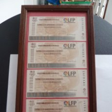 Coleccionismo deportivo: LOTE DE 4 ENTRADAS DE FUTBOL ENMARCADAS BARCELONA ATLETICO DE MADRID 1996. Lote 60463031