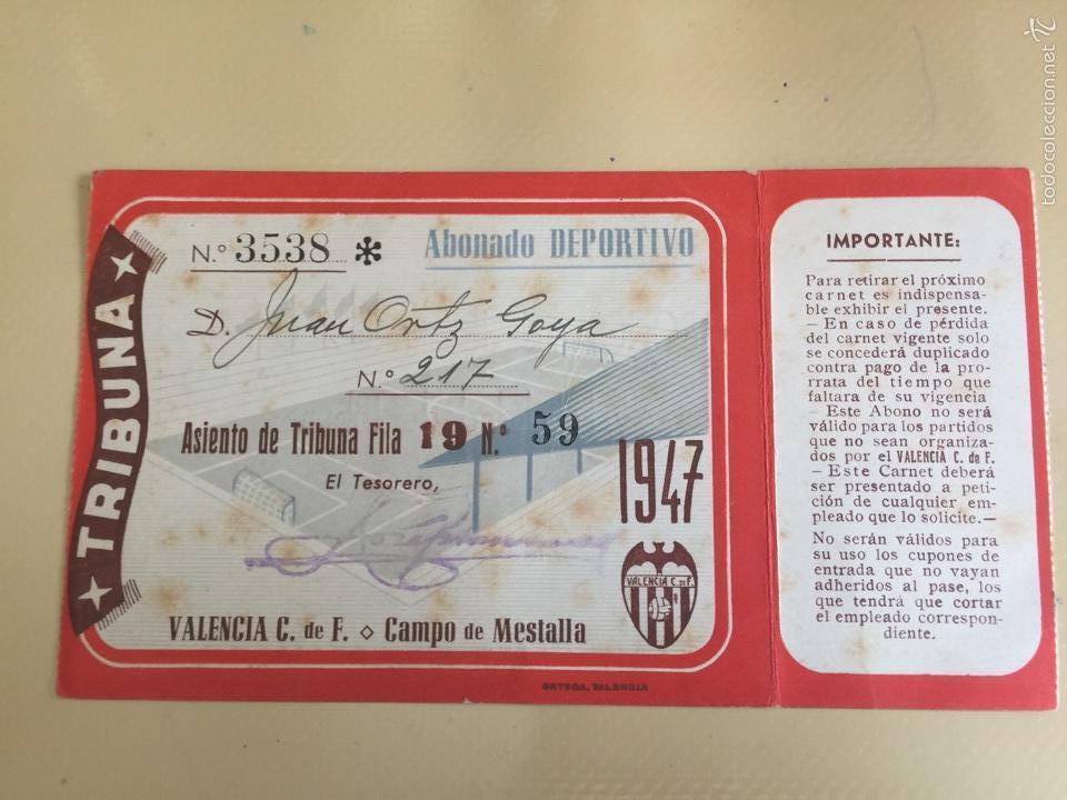 Coleccionismo deportivo: VALENCIA CLUB DE FÚTBOL. ABONO ANUAL. AÑO 1947. - Foto 2 - 93988733