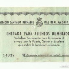 Coleccionismo deportivo: ANTIGUA ENTRADA ESTADIO SANTIAGO BERNABEU. GRADA PREFERENCIA. REAL MADRID. 1960. BERNABEU. Lote 61618116