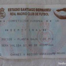 Coleccionismo deportivo: ENTRADA FUTBOL SANTIAGO BERNABEU REAL MADRID. Lote 61688480