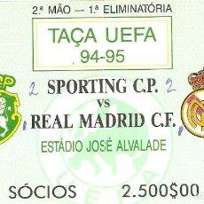 Coleccionismo deportivo: ENTRADA FÚTBOL UEFA. PARTIDO SPORTING DE LISBOA VS REAL MADRID. 1994. Lote 62372640