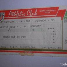 Coleccionismo deportivo: ENTRADA DE FUTBOL ATHLETIC CLUB DE BILBAO. CLUB DEPORTIVO LOGROÑES. 30 MAYO 1993. SAN MAMES. TDKP8. Lote 62735672