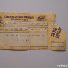 Coleccionismo deportivo: ENTRADA PARTIDO DE FUTBOL SANTIAGO BERNABEU. REAL ZARAGOZA. REAL MADRID. CAMPEONATO LIGA. TDKP8. Lote 62747208