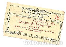 ENTRADA BERNABÉU.CUARTOS DE FINAL 1ª COPA EUROPA. REAL MADRID-PARTIZÁN. 25 DICIEMBRE 1955 (NAVIDAD) (Coleccionismo Deportivo - Documentos de Deportes - Entradas de Fútbol)