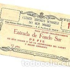 Coleccionismo deportivo: ENTRADA BERNABÉU.CUARTOS DE FINAL 1ª COPA EUROPA. REAL MADRID-PARTIZÁN. 25 DICIEMBRE 1955 (NAVIDAD). Lote 54653054