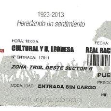 Coleccionismo deportivo: ENTRADA-INVITACION FUTBOL - PARTIDO CULTURAL LEONESA-RACING SANTANDER - 22 DE SEPTIEMBRE DE 2013. Lote 65739638