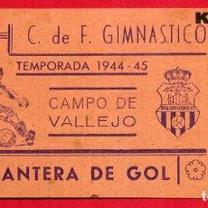 Coleccionismo deportivo: ENTRADA FUTBOL, TEMPORADA 1944 45 , GIMNASTICO HOY LEVANTE , ORIGINAL , EF3752. Lote 66928622