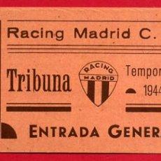 Coleccionismo deportivo: ENTRADA FUTBOL, TEMPORADA 1944 45 , RACING MADRID , ORIGINAL , EF3756. Lote 66928930
