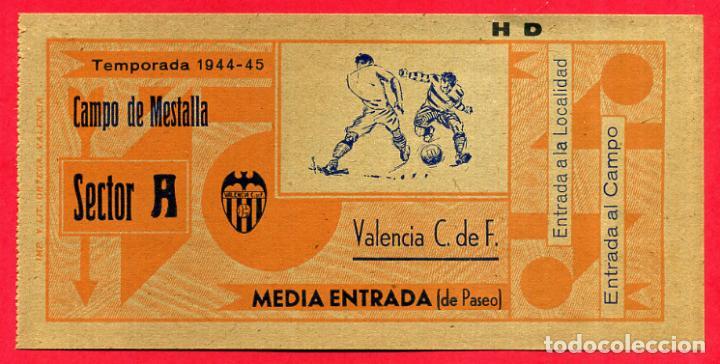 ENTRADA FUTBOL, TEMPORADA 1944 45 , VALENCIA , MEDIA , ORIGINAL , EF3764 (Coleccionismo Deportivo - Documentos de Deportes - Entradas de Fútbol)
