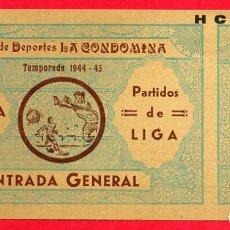 Coleccionismo deportivo: ENTRADA FUTBOL, TEMPORADA 1944 45 , REAL MURCIA , ORIGINAL , EF3765. Lote 66929590