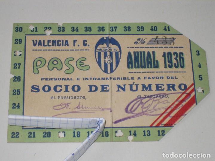 ENTRADA CAMPO MESTALLA 1936 PASE ANUAL VALENCIA C.F. (Coleccionismo Deportivo - Documentos de Deportes - Entradas de Fútbol)