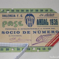 Coleccionismo deportivo: ENTRADA CAMPO MESTALLA 1936 PASE ANUAL VALENCIA C.F.. Lote 67212265