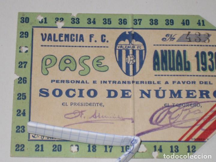 Coleccionismo deportivo: Entrada campo Mestalla 1936 Pase Anual Valencia C.F. - Foto 2 - 67212265
