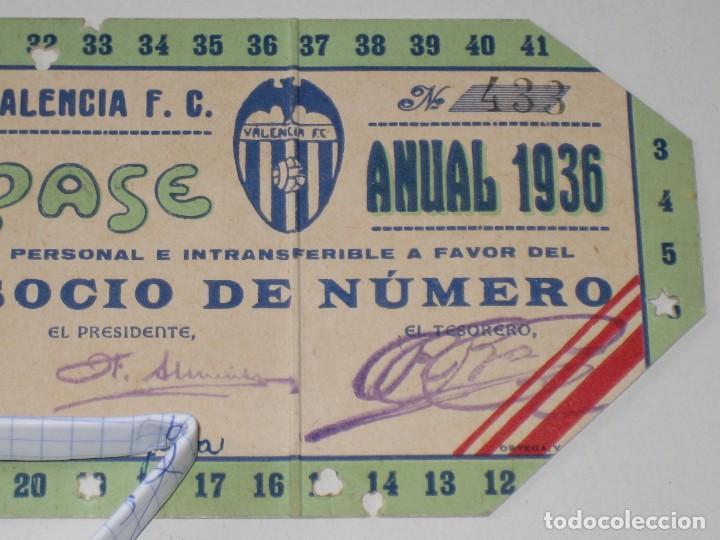 Coleccionismo deportivo: Entrada campo Mestalla 1936 Pase Anual Valencia C.F. - Foto 3 - 67212265