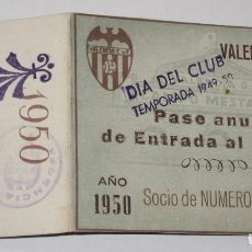 Coleccionismo deportivo: ENTRADA CAMPO MESTALLA 1949 ABONO ANUAL VALENCIA C. DE F.. Lote 67212309