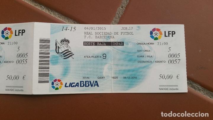 6ce78aa34 Coleccionismo deportivo: 2 ENTRADAS REAL SOCIEDAD - FC BARCELONA. LIGA  ESPAÑOLA. TEMPORADA 2014