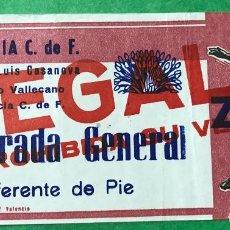 Colecionismo desportivo: ENTRADA DE FÚTBOL ESTADIO LUIS CASANOVA - PARTIDO VALENCIA Y RAYO VALLECANO. Lote 75804151