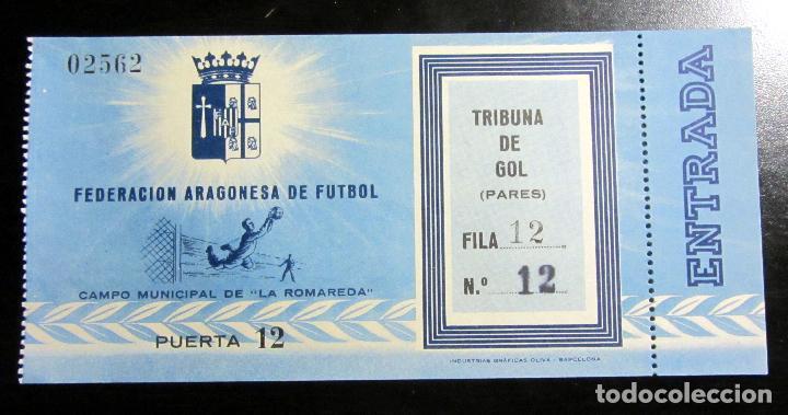ENTRADA FUTBOL TICKET FOOTBALL ZARAGOZA LA ROMAREDA AÑOS 50 (Coleccionismo Deportivo - Documentos de Deportes - Entradas de Fútbol)