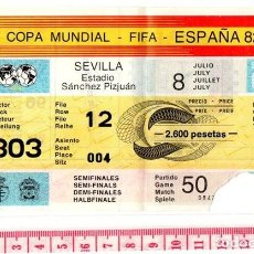 Coleccionismo deportivo: D50 ENTRADA FUTBOL MUNDIAL ESPAÑA 1982 SEMIFINAL ITALIA 2 POLONIA 0,MADRID SANTIAGO BERNABEU 8 JULIO. Lote 83112664