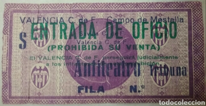 ENTRADA: VALENCIA C.DE F. CAMPO DE MESTALLA. (Coleccionismo Deportivo - Documentos de Deportes - Entradas de Fútbol)