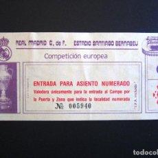 Coleccionismo deportivo: ENTRADA FÚTBOL. REAL MADRID. COMPETICIÓN EUROPEA. ESTADIO SANTIAGO BERNABEU. COPA DE EUROPA. . Lote 83998796