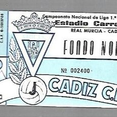 Coleccionismo deportivo: ENTRADA DE FUTBOL. RAMON DE CARRANZA. CADIZ C.F - MALAGA. 1º DIVISION. FONDO NORTE. Lote 84290464