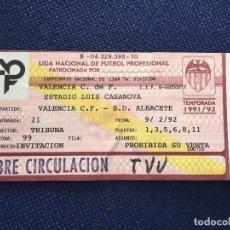 Coleccionismo deportivo: R2223 ENTRADA TICKET VALENCIA ALBACETE LIGA TEMPORADA 1991 1992. Lote 85944908