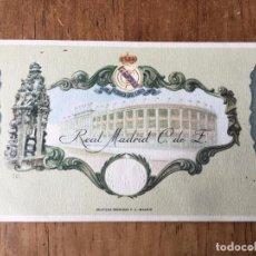 Coleccionismo deportivo: R2272 ENTRADA TICKET BODAS DE ORO 1952 REAL MADRID CON LOS PARTIDOS POR DETRAS UNICO EN TC!!!!. Lote 86352256